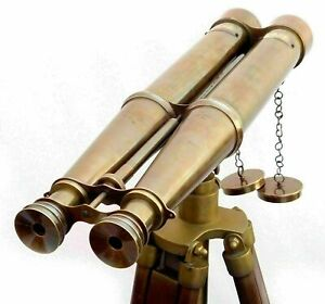 58'' Nautical Brass Antique Binocular Victorian Marine Binocular with Wood Stand