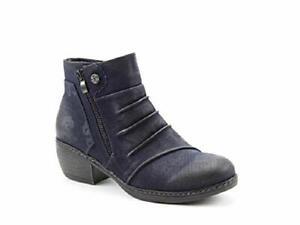 Women's Ladies Heavenly Feet Hallie Ankle Vegan Zip Casual Midnight (Navy) Boot