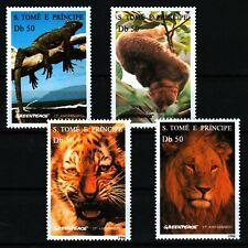 Sao Tome & Principal 1996 MNH 4v, Greenpeace, Lion, Elephant, Tiger