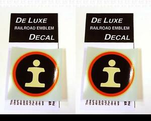 DeLuxe By Virnex Decals Illinois Central 2.5 Inches Herald D-117 -Two Decals-