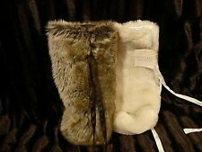 Pottery Barn Faux Fur Wine Bags - NEW