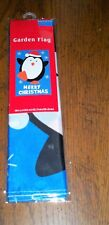 """HOLIDAY MERRY CHRISTMAS PENQUIN 18"""" X 12"""" GARDEN FLAG FREE SHIPPING"""