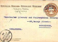 Mexico 3c Stationery TRANSATLANTIC Postcard MANCHESTER LIBRARY 1901 KK348