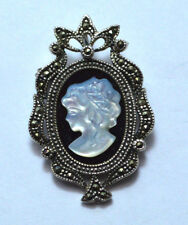 VINTAGE CL  .925 STERLING SILVER MARCASITE BLACK ONYX & MOP CAMEO PIN/PENDANT!