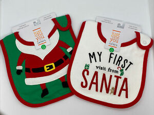 Carter's My First Christmas & Santa Christmas Bib Just One You Lot of 2 New