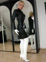 Womens Party Wear Casual Stylish Sexy Lambskin Leather Cocktail Ladies Dress 30