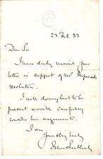 John Lubbock - Baron Avebury - scientist- 1883 ALS on House of Commons notepaper