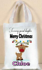 Personalised Christmas Xmas tote gift bag , Cute Reindeer , Christmas Eve bag