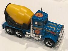 Matchbox 1981 Peterbilt Cement Truck Blue Yellow Hot Wheels RARE