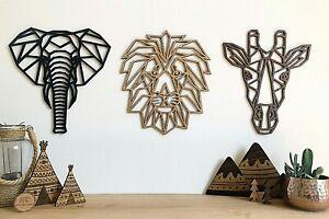 Geometric Safari Set - Wooden Wall Art - Home Nursery - Lion - Elephant -Giraffe