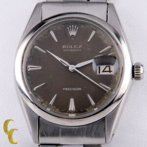 Rolex Oysterdate Precision 6694 Men's Stainless Steel Watch Brown Tropical Dial