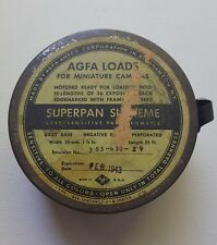 VINTAGE ANTIQUE 1943 AGFA ANSCO Miniature FILM TIN CAN Superpan Supreme loads