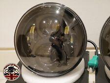 """LED Headlights x2 BLACK CRYSTAL 7"""" lights Headlamps for Land Rover Defender 7502"""