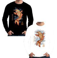 Velocitee Mens Long Sleeve T Shirt Koi Carp Tattoo Fish Japanese Pop Art W12565