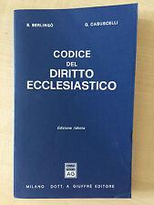 Berlingò - Casuscelli - CODICE DEL DIRITTO ECCLESIASTICO - Ediz. ridotta - 1985