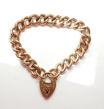 Antique curb bracelet 9ct rose gold patterned and plain links 25 grams 8""