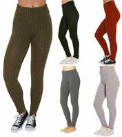 New Ladies Women's Cable Knit Full Length Ribbed Thick Warm  Leggings Pants