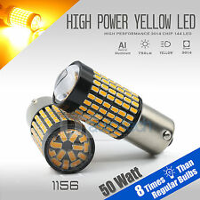 2X 1156 50W High Power Chip LED Yellow/Amber Turn Signal Brake Tail Lights Bulbs