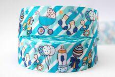 1M X 22mm Grosgrain Ribbon Craft DIY Cake Decorations Hair Bows - Baby Boy