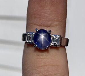 Blue Star Sapphire Cabochon and Diamond Platinum Ring 4.06CTW Size 6.25, 7.4 Gr