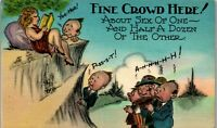 Sex of One Half Dozen Other Fine Crowd 1940's Era Humor Vintage Postcard