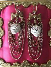 Betsey Johnson White Lace Sugar Skeleton Skulls Girl Skull Crown Chain Earrings