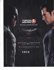 TURKISH airline magazine ad 2016 clipping print page vtg BATMAN v SUPERMAN