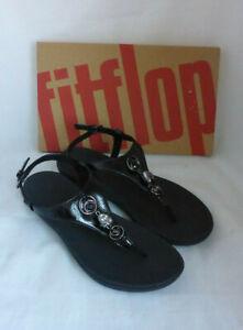 Fitflop Lainey Embellished All Black Toe Post Back Strap Sandals PU Jewel Size 6