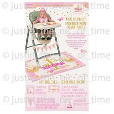 Unique Party Pink & Gold High Chair Kit 1st Birthday Girl Decoration Celebration