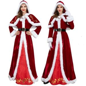 Women Sexy Deluxe Red Mrs Santa Costume Miss Claus Christmas Fancy Dress