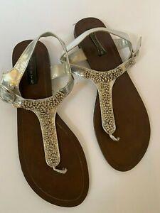 Celeste Sandal Thong Shoe Women Size 9.5 Silver Gemstones Wrap strap Sparkle