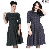 Hell Bunny Peebles Scottish Tartan Check 1950's Vintage Retro Flare Dress
