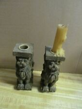 Fabulous Pair Of Medieval Design Lion Candleholders - Conversation Starters!