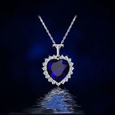 Fashion Women Heart Of Ocean Titanic Blue Crystal Pendant Elegant Necklace Gifts