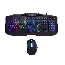 RK400 Rainbow LED Backlit Gaming Keyboard Mouse Combo Bundle UK Layout Black