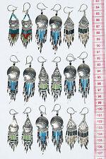 Lot 6 paires de boucles d'oreilles pendantes péruvien avec design ethnique, bijoux faits à la main en métal