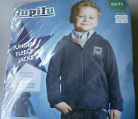 Jungen Fleece-Jacke * 86/92 * Blau mit Kapuze * lupilu * Neu * OVP