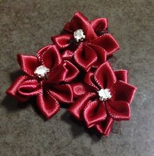 Blood Red Satin Flowers with Diamante Centre- Australian Supplier