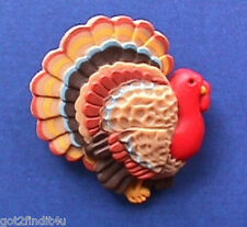 BUY1&GET1@50%~Hallmark PIN Thanksgiving TOM TURKEY Vtg Holiday Brooch #C