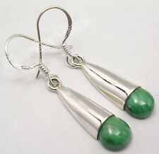 "Nice Earrings 1.5"" One Of A Kind 925 Solid Silver Green Malachite Stunning Cap"