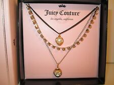 *New* Juicy Couture 3 Tier Charm Necklace WITH Locket *FAST FREE SHIPPING*