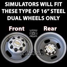"Chevrolet GMC Van 16"" Dual Steel Wheel Simulators Dually 8 Lug Rim Liners Covers"