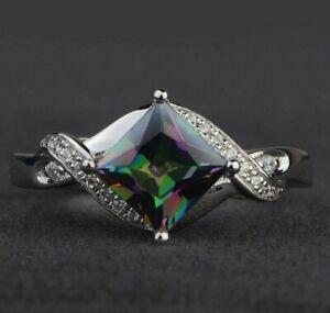 Womens Wedding Ring 1.5 ct Mystic Topaz & Sim Diamond 14K White Gold Over Silver