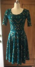 Lularoe Teal Blue Green Pattern Fit And Flare Dress Size Small NWOT