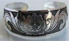 Flower and leave symbols Beautiful Wide Cuff Bangle Bracelet,