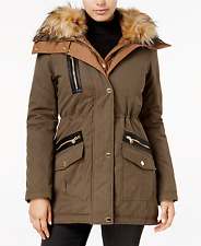 GUESS Womens New Faux-Fur-Trim Mixed-Media Parka Olive S $250 #23-16