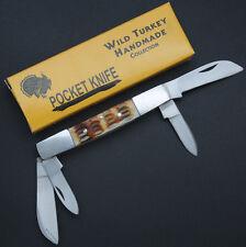 Wild Turkey Handmade Double Sided Bone Handle Folding Pocket Knife 4 Blades