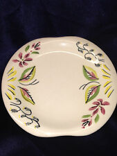 RED WING POTTERY CAPRICE BREAD & BUTTER PLATE RED GREY FLOWERS GREEN RED LEAVES