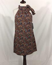 ZARA TRAFALUC Collection floral robe droite taille M LIEN COU BLEU MARINE