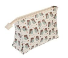 MAKE UP BAG FOREST OWL RANGE BY SASS BELLE 17 X 21 CM CREAM GREEN
